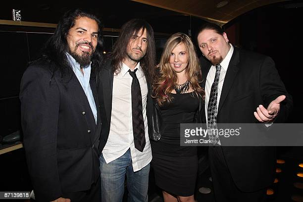 Actor Jose Hernandez Jr Guns N' Roses guitarist Ron 'Bumblefoot' Thal and wife Jen Thal and pro wrestler Brimstone attend Chrisette Michele's...