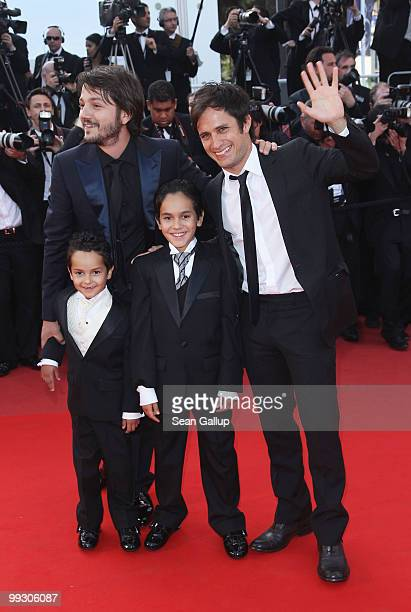 Actor Jose Maria Yazpik director Diego Luna Gerardo RuizEsparza and Christopher RuizEsparza attend the Abel Premiere at the Palais des Festivals...