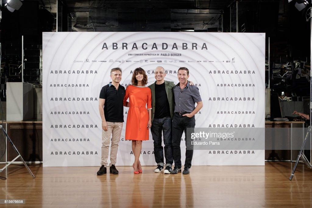 Actor Jose Mota, actress Maribel Verdu, director Pablo Berger and actor Antonio de la Torre attend the 'Abracadabra' photocall at Golden disco on July 17, 2017 in Madrid, Spain.