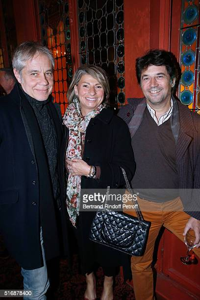 """Actor Jose Paul with Actor Bruno Madinier and his Wife Camille Jean-Robert attend the """"L'Etre ou pas"""" : Theater play at Theatre Antoine on March 21,..."""
