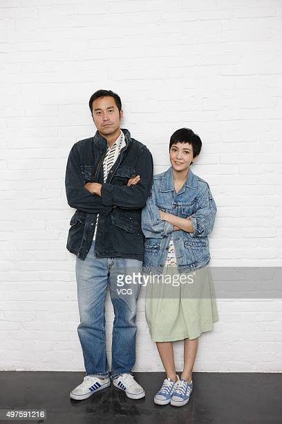 Actor Joseph Chang and actress Amber Kuo pose during the media visit of director Ringo Lam's film 'Battle of Life' on November 17 2015 in Hong Kong...