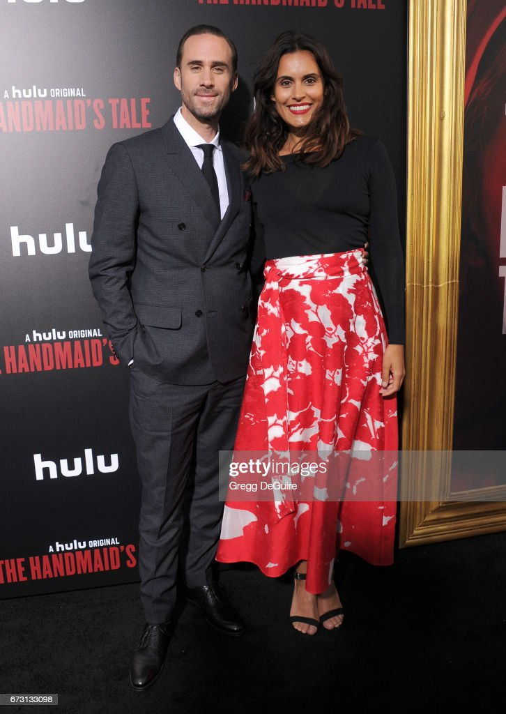 Actor Joseph Fiennes and wife Maria Dolores Dieguez arrive at the premiere of Hulu's 'The Handmaid's Tale' at ArcLight Cinemas Cinerama Dome on April 25, 2017 in Hollywood, California.