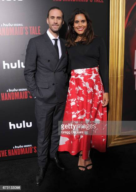 Actor Joseph Fiennes and wife Maria Dolores Dieguez arrive at the premiere of Hulu's 'The Handmaid's Tale' at ArcLight Cinemas Cinerama Dome on April...