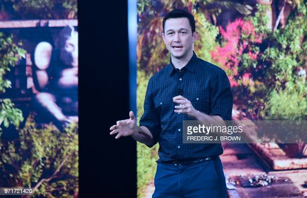 Actor Joseph GordonLevitt addresses the crowd at the Ubisoft E3 2018 media briefing inside the Orpheum Theatre in Los Angeles California on June 11...