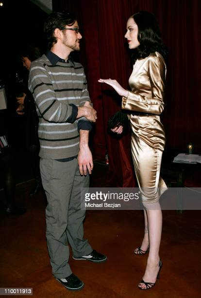 Actor Joseph GordonLevitt and actress Evan Rachel Wood during The Behind the Camera Awards held at The Highlands on November 9 2008 in Hollywood...