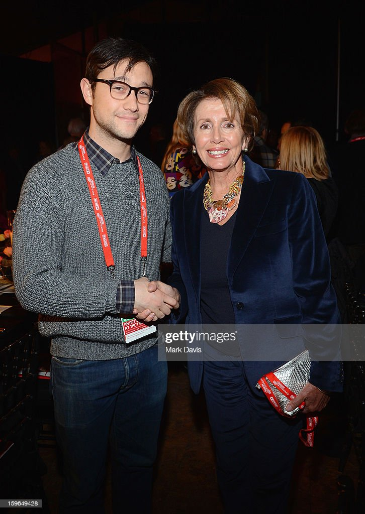 Actor Joseph Gordon-Levitt and Minority Leader of the United States House of Representatives Nancy Pelosi attend An Artist At The Table, a benefit for the Sundance Institute during the 2013 Sundance Film Festival at The Shop on January 17, 2013 in Park City, Utah.
