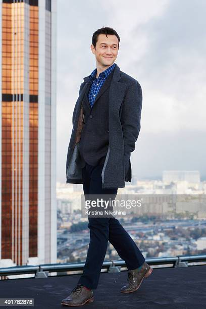 Actor Joseph GordonLevitt attends a photocall for 'The Walk Rever Plus Haut' at Impire Business HighRise on October 8 2015 in Moscow Russia