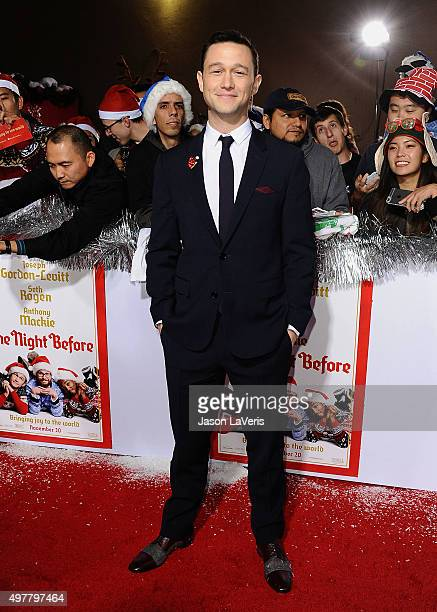 Actor Joseph GordonLevitt attends the premiere of 'The Night Before' at The Theatre At The Ace Hotel on November 18 2015 in Los Angeles California