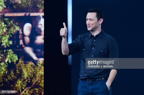 Actor Joseph GordonLevitt gestures while addressing the audience at the Ubisoft E3 2018 media briefing inside the Orpheum Theatre in Los Angeles...