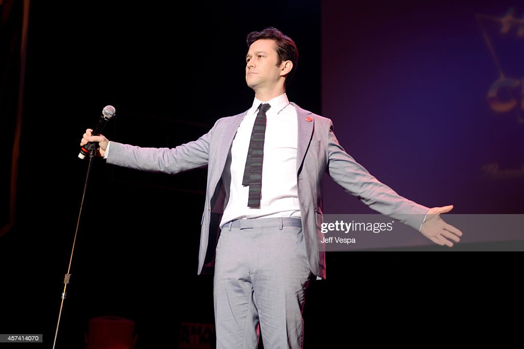 Actor Joseph Gordon-Levitt on stage at the 3rd Annual Hilarity for Charity Variety Show to benefit the Alzheimer's Association, presented by Genworth, at Hollywood Palladium on October 17, 2014 in Hollywood, California.