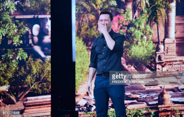 Actor Joseph GordonLevitt reacts as he is introduced to the audience at the Ubisoft E3 2018 media briefing inside the Orpheum Theatre in Los Angeles...