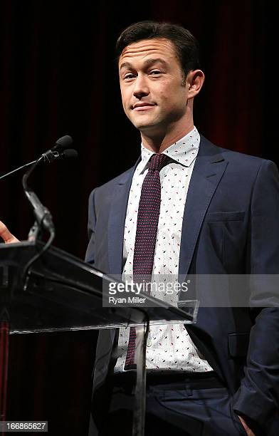 Actor Joseph GordonLevitt speaks onstage at a Will Rogers Motion Picture Pioneers Foundation dinner honoring producer Kathleen Kennedy with the 2013...