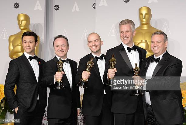 Actor Joseph GordonLevitt Visual effects artists Timothy Webber Neil Corbould Chris Lawrence and David Shirk winners of Best Achievement in Visual...