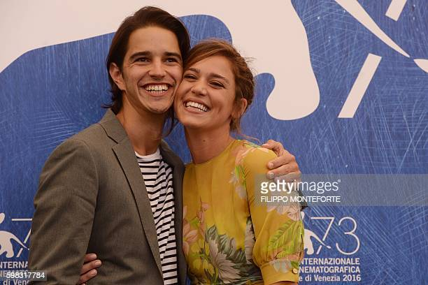 Actor Joseph Haro and actress Matilda Lutz pose during a photocall of the movie L'Estate Addosso presented out of competition at the 73rd Venice Film...