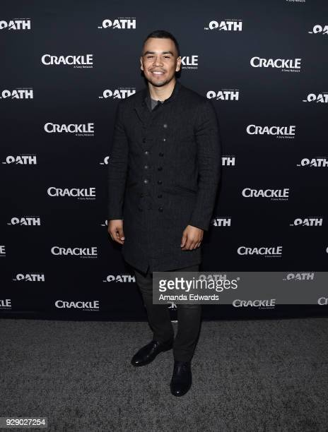 Actor Joseph Julian Soria arrives at Crackle's The Oath premiere at Sony Pictures Studios on March 7 2018 in Culver City California
