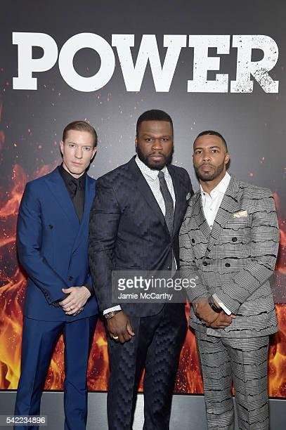 Actor Joseph Sikora executive producer Curtis Jackson and actor Omari Hardwick attend the STARZ Power New York season three premiere at SVA Theatre...