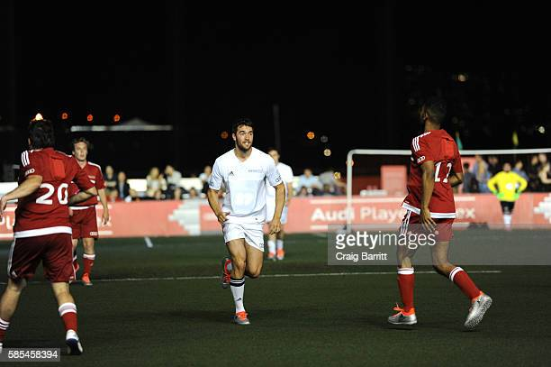 Actor Josh Bowman plays in the Audi Player Index PickUp Match at Chelsea Piers on August 2 2016 in New York City