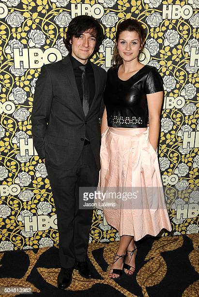 Actor Josh Brener and actress Meghan Falcone attend HBO's post 2016 Golden Globe Awards party at Circa 55 Restaurant on January 10, 2016 in Los...