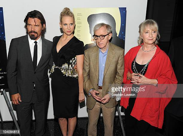 Actor Josh Brolin actress Lucy Punch director Woody Allen and actress Gemma Jones attend the screening of You Will Meet a Tall Dark Stranger hosted...