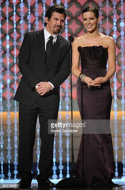 Actor Josh Brolin and actress Kate Beckinsale present the Best Comedy award onstage during VH1's 14th Annual Critics' Choice Awards held at the Santa...