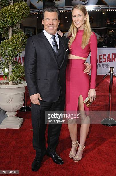 Actor Josh Brolin and Kathryn Boyd arrive at the Los Angeles Premiere 'Hail Caesar' at Regency Village Theatre on February 1 2016 in Westwood...
