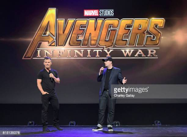 Actor Josh Brolin and producer Kevin Feige of AVENGERS INFINITY WAR took part today in the Walt Disney Studios live action presentation at Disney's...