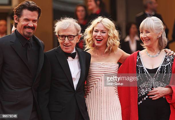Actor Josh Brolin director Woody Allen actress Gemma Jones and actress Lucy Punch attend the You Will Meet A Tall Dark Stranger Premiere at the...