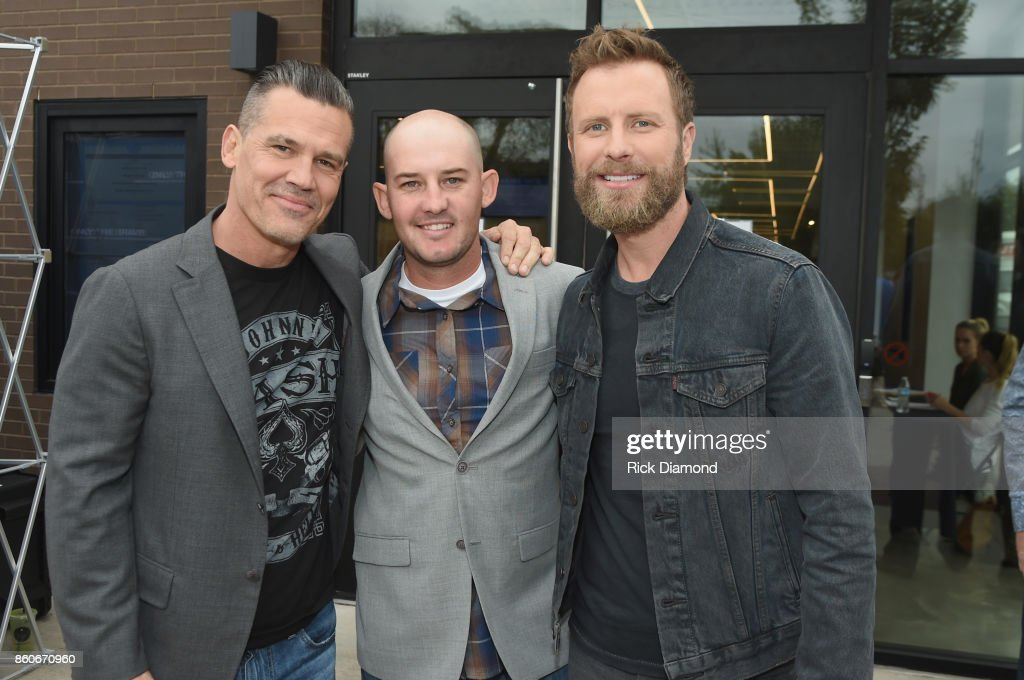 Actor Josh Brolin, tech advisor Pat McCarty and singer-songwriter Dierks Bently attend 'Only The Brave' Nashville screening hosted by Dierks Bentley at The Belcourt Theatre on October 12, 2017 in Nashville, Tennessee.