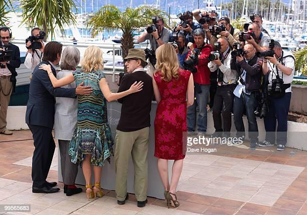 Actor Josh Brolin with actresses Gemma Jones Naomi Watts director Woody Allen and actress Lucy Punch attend the You Will Meet A Tall Dark Stranger...