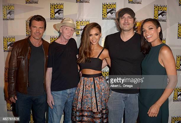 Actor Josh Brolin writer Frank Miller actress Jessica Alba writer/director Robert Rodriguez and actress Rosario Dawson attend Frank Miller's Sin City...