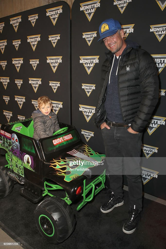 Actor Josh Duhamel and his son Axl arrives at Monster Jam Celebrity Event at Angel Stadium on February 24, 2018 in Anaheim, California.