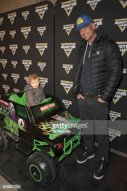 Actor Josh Duhamel and his son Axl arrives at Monster Jam Celebrity Event at Angel Stadium on February 24 2018 in Anaheim California