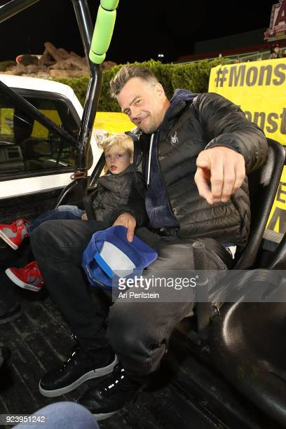 Actor Josh Duhamel and his son Axl attend Monster Jam Celebrity Event at Angel Stadium on February 24 2018 in Anaheim California