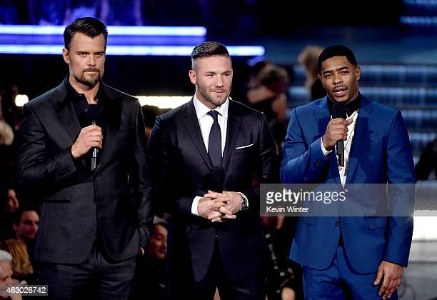 Actor Josh Duhamel and NFL players Julian Edelman and Malcolm Butler of the New England Patriots speak onstage during The 57th Annual GRAMMY Awards...