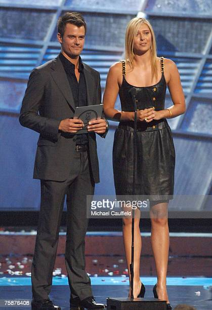 Actor Josh Duhamel and tennis player Maria Sharapova speak on stage during the 2007 ESPY Awards at the Kodak Theatre on July 11, 2007 in Hollywood,...