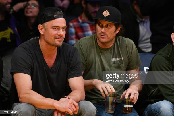 Actor Josh Duhamel attends a basketball game between the Los Angeles Lakers and the Orlando Magic at Staples Center on March 7 2018 in Los Angeles...