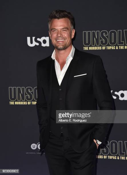 Actor Josh Duhamel attends the premiere of USA Network's Unsolved The Murders of Tupac and The Notorious BIG at Avalon on February 22 2018 in...