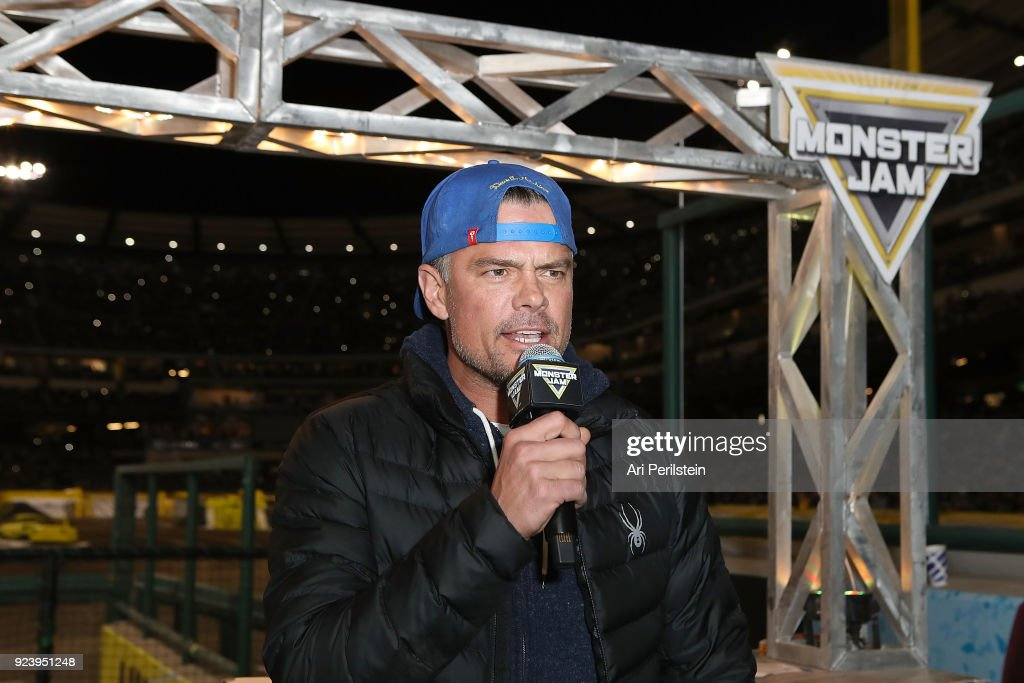 Actor Josh Duhamel introduces the drivers at Monster Jam Celebrity Event at Angel Stadium on February 24, 2018 in Anaheim, California.