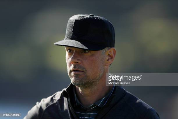 Actor Josh Duhamel looks on on the 18th hole during the 3M Celebrity Challenge prior to the ATT Pebble Beach ProAm at Pebble Beach Golf Links on...