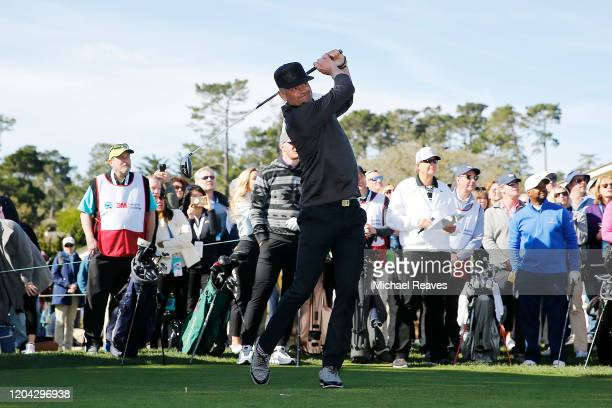 Actor Josh Duhamel plays his shot from the first tee during the 3M Celebrity Challenge prior to the ATT Pebble Beach ProAm at Pebble Beach Golf Links...
