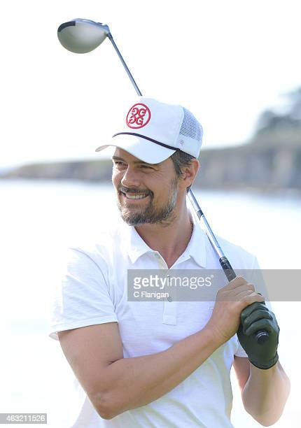 Actor Josh Duhamel reacts to his shot on the 17th tee during the 3M CelebrityChallenge before the ATT Pebble Beach National ProAm at the Pebble Beach...