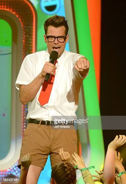 Actor Josh Duhamel speaks onstage at Nickelodeon's 26th Annual Kids' Choice Awards at USC Galen Center on March 23 2013 in Los Angeles California