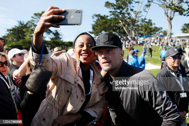 Actor Josh Duhamel takes a selfie with a fan during the 3M Celebrity Challenge prior to the ATT Pebble Beach ProAm at Pebble Beach Golf Links on...