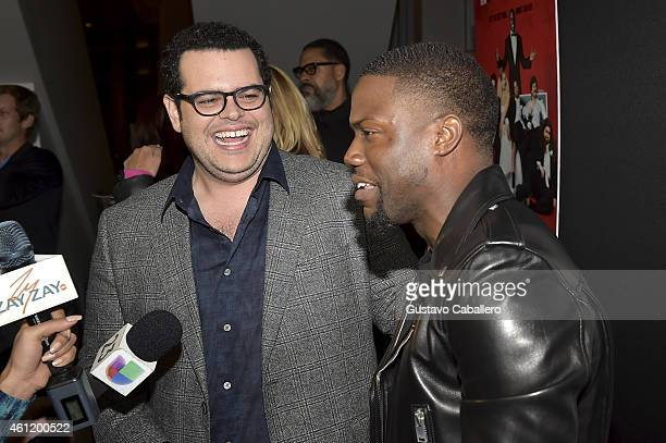 Actor Josh Gad and actor/comedian Kevin Hart are interviewed on the red carpet during 'The Wedding Ringer' Screening in Miami at Regal South Beach on...