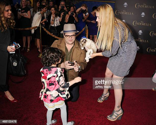 Actor Josh Gad, daughter and Grumpy Cat arrive at the World Premiere of Disney's 'Cinderella' at the El Capitan Theatre on March 1, 2015 in...