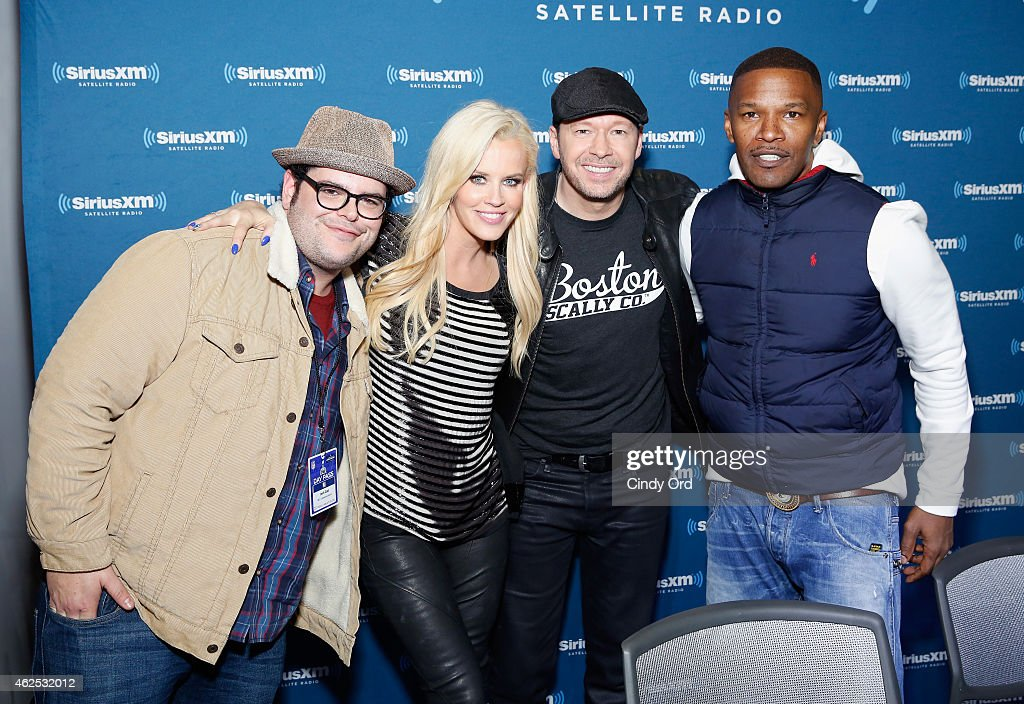 Actor Josh Gad, TV personality Jenny McCarthy, singer/actor Donnie Wahlberg and actor/recording artist Jamie Foxx attend SiriusXM at Super Bowl XLIX Radio Row at the Phoenix Convention Center on January 30, 2015 in Phoenix, Arizona.