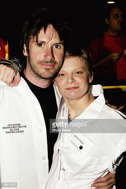 Actor Josh Hamilton and actress Martha Plimpton attend a bowling Benefit for Second Stage Theatre at Port Authority Leisure Time Bowling Lanes on...