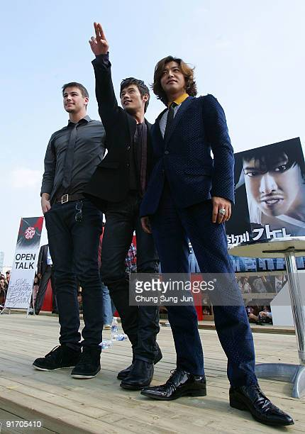 Actor Josh Hartnett Lee ByungHun and Takuya Kimura attend the open talk 'I Come with the Rain' during the 14th Pusan International Film Festival at...