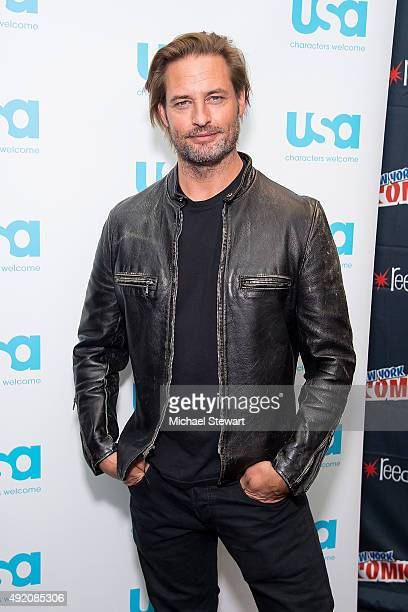 Actor Josh Holloway poses in the press room for the 'Colony' panel during New York ComicCon Day 2 at The Jacob K Javits Convention Center on October...