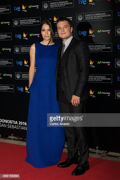 Actor Josh Hutcherson and actress Claudia Traisac attend the Escobar Paradise Lost premiere at the Victoria Eugenia Theater during the 62nd San...